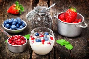 Yogurt, berries, chia seeds, healthy breakfast